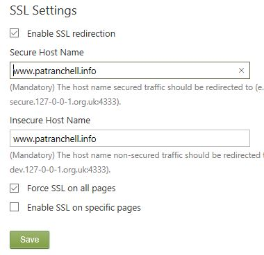 Orchard SSL settings