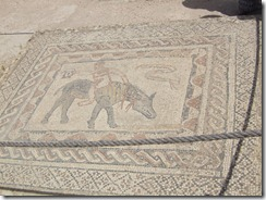 A mosaic of a man riding a donkey backwards.