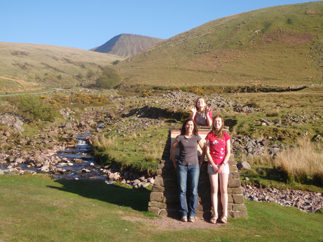 Naomi, Lois and Helen by the stream from Llyn y Fan Fach