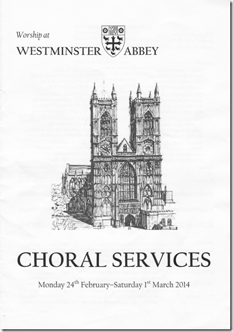 Westminster Abbey choral services pamphlet