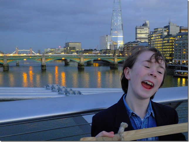 A happy chorister on the Millennium Bridge after St Paul's evensong