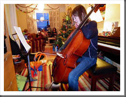 Lois playing her new cello